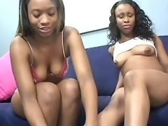 Busty black lesbians with strapon in orgy black lesbian porn