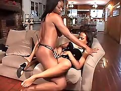 Two sexual black lesbians play with dildo black lesbian porn